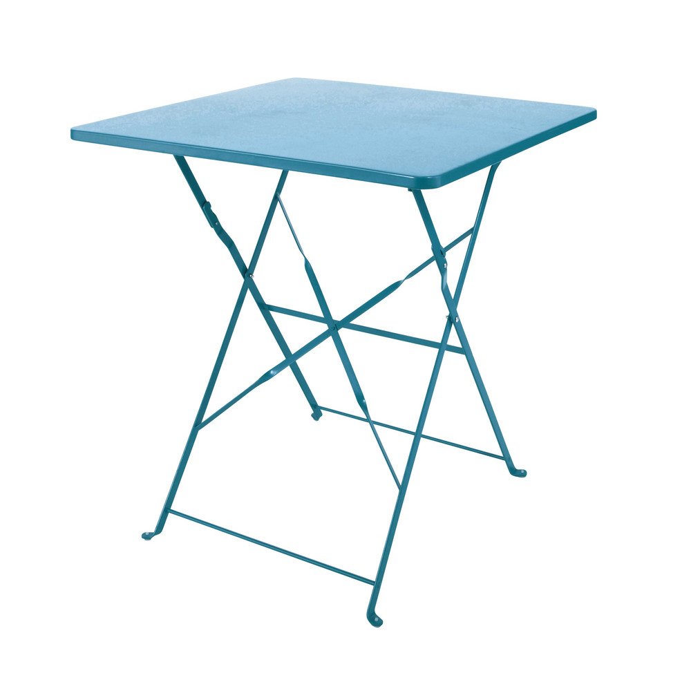Table pliante de jardin en m tal bleu canard l 70 cm - Table de jardin metal ...