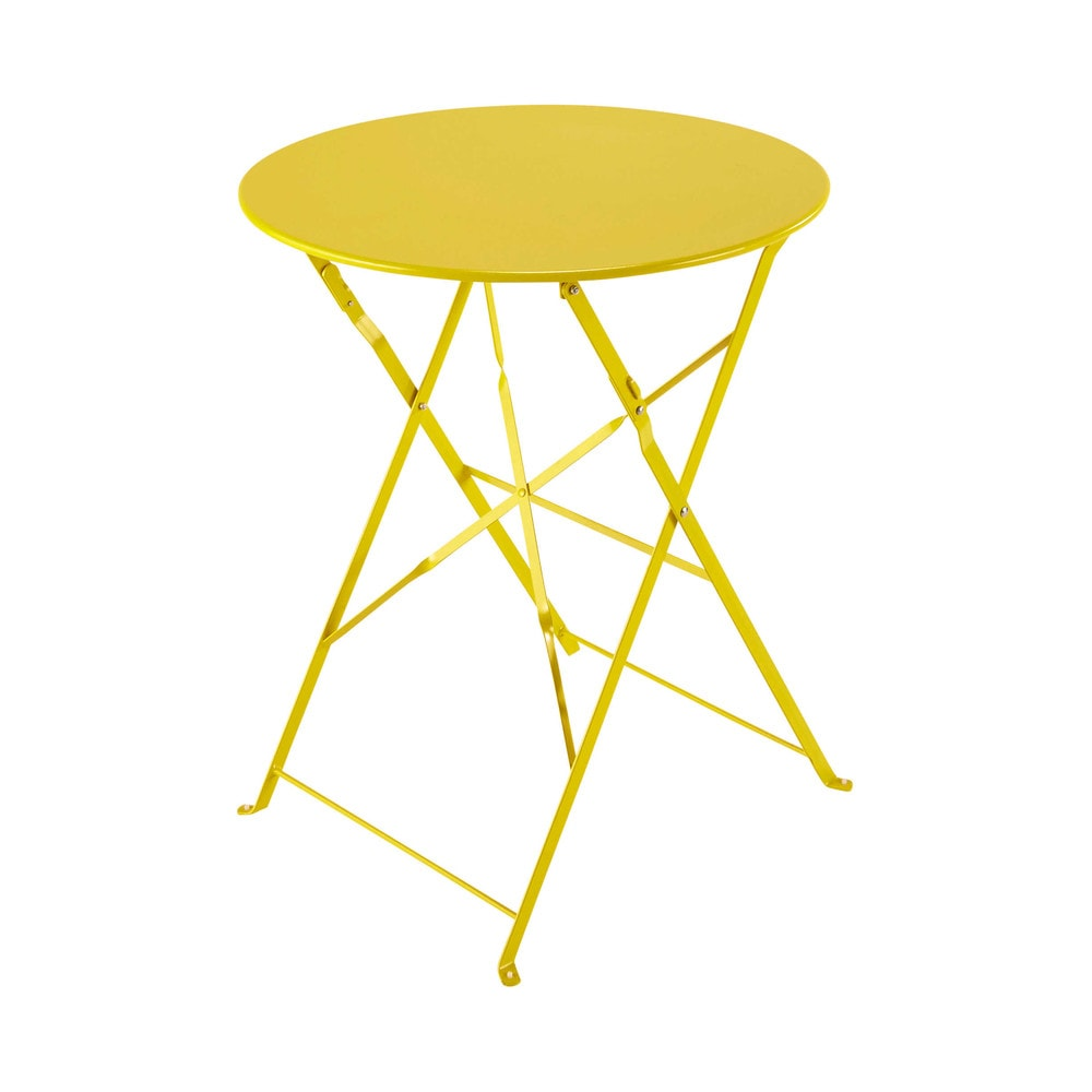 Table pliante de jardin en m tal jaune d 58 cm confetti for Table exterieur jaune