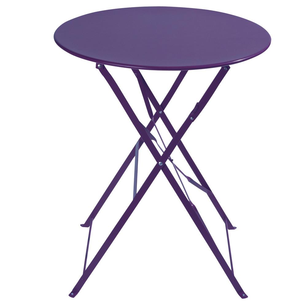 Table pliante de jardin en m tal violette d 58 cm confetti for Table de jardin metal pliante