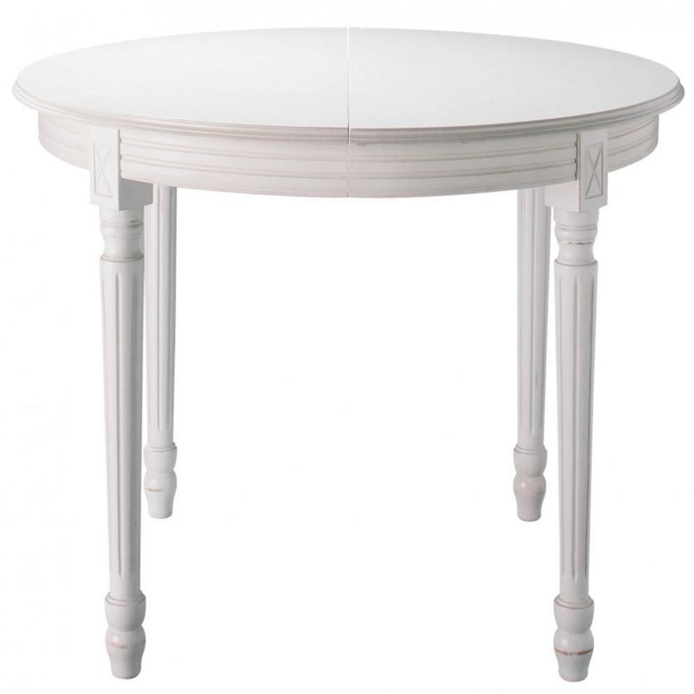 Table ronde de salle manger rallonges en bois blanche for Table a manger blanche