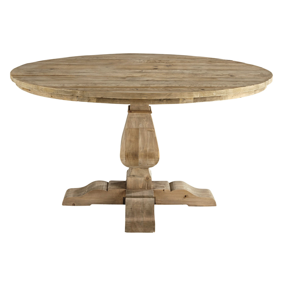 Table ronde de salle manger en bois recycl d 140 cm for Table a manger ronde bois