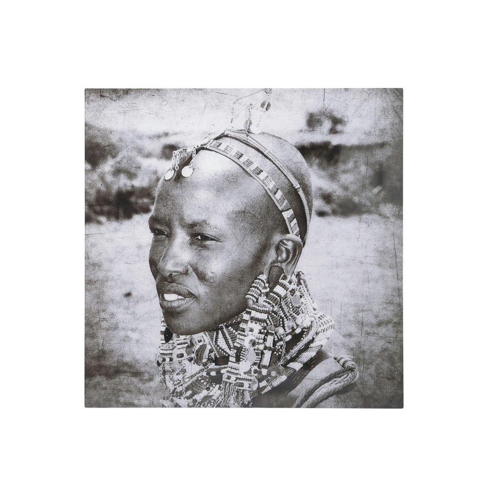 Tableau africain en plexiglas noir et blanc 60 x 60 cm karimba ...