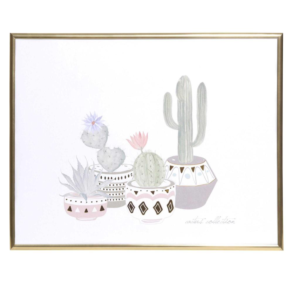 Tableau en aluminium dor 32x25cm cactus edition maisons du monde - Tableau maison du monde occasion ...