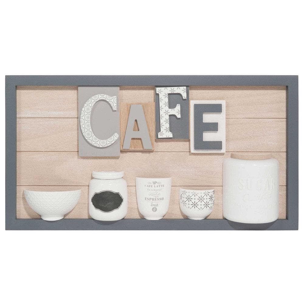tableau en bois 30 x 57 cm caf maisons du monde. Black Bedroom Furniture Sets. Home Design Ideas