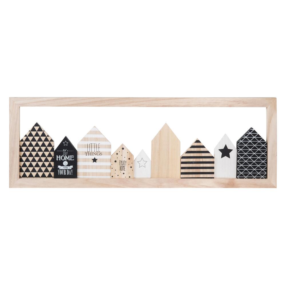 Tableau en bois noir blanc 24 x 70 cm little houses for Tableau noir en bois
