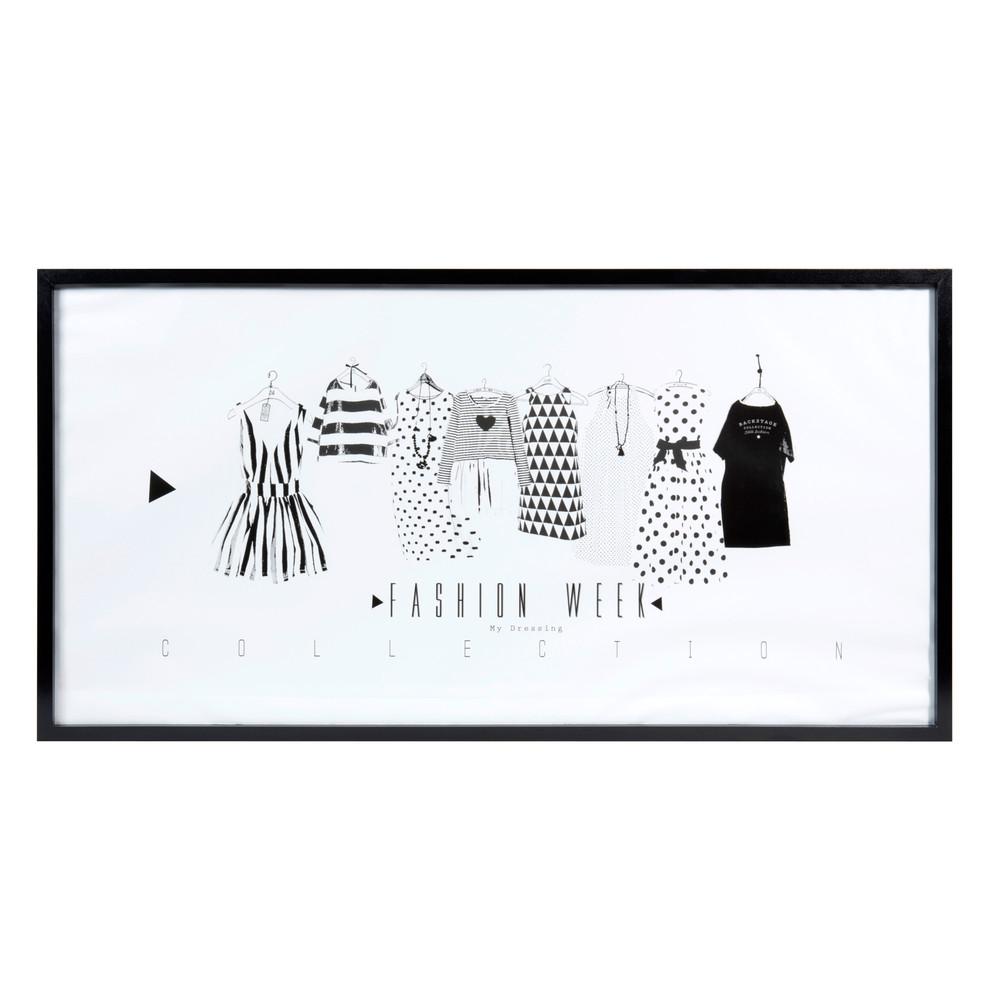 Tableau en bois noir blanc 45 x 90 cm fashion week for Tableau noir en bois