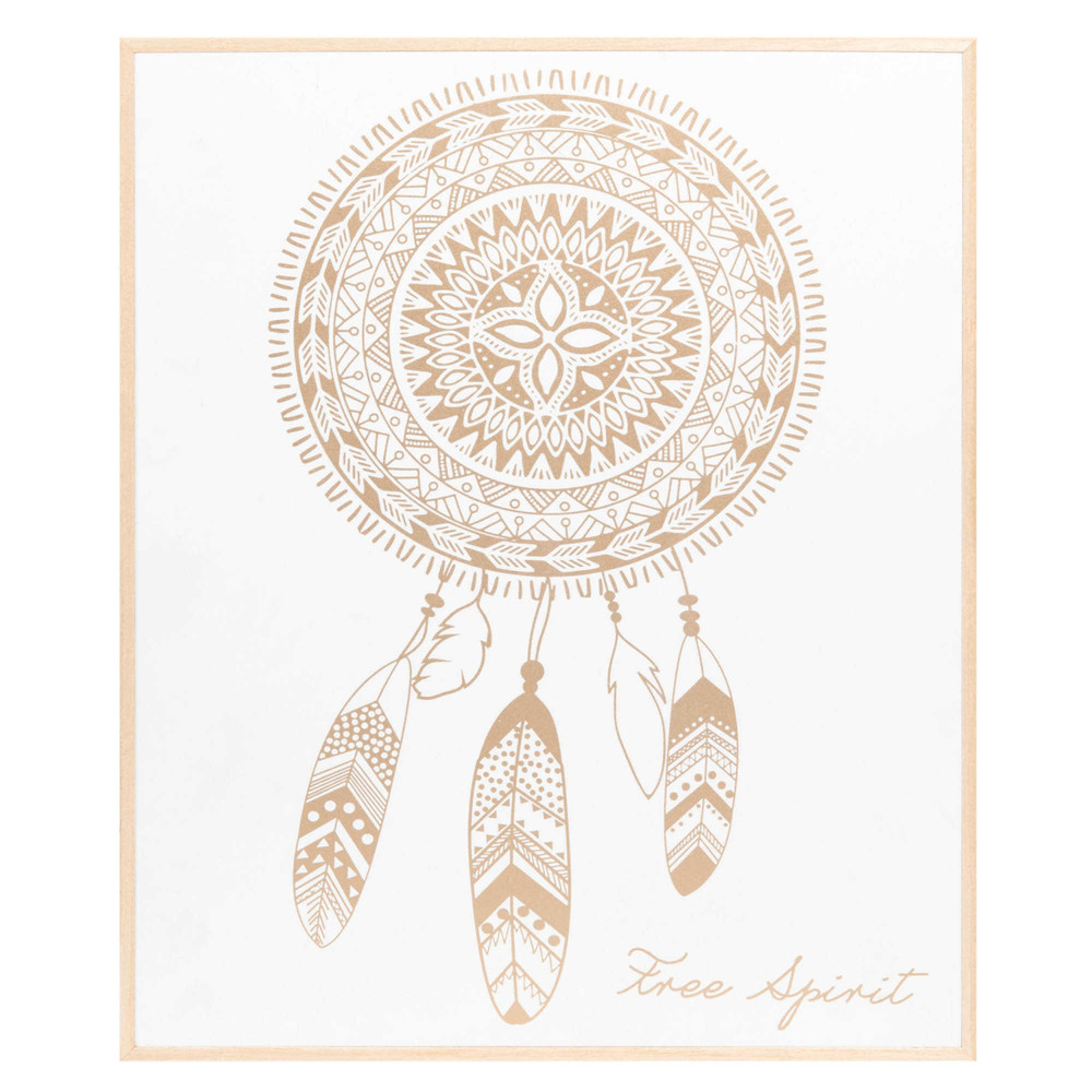 tableau en sapin blanc et dor 25x30cm dreamcatcher. Black Bedroom Furniture Sets. Home Design Ideas