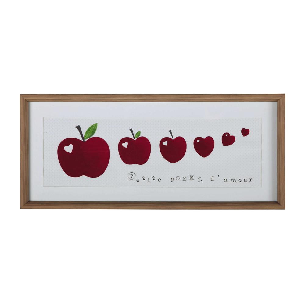 tableau enfant pommes en plastique effet bois rouge 35 x 80 cm farandole maisons du monde. Black Bedroom Furniture Sets. Home Design Ideas