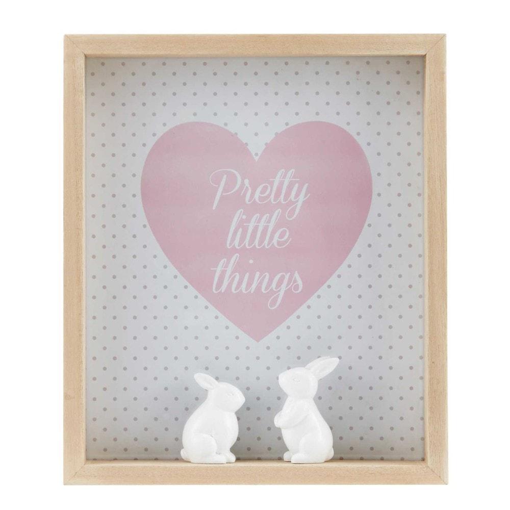 Tableau lapins en paulownia imprim capucine maisons du for Tableau en verre imprime