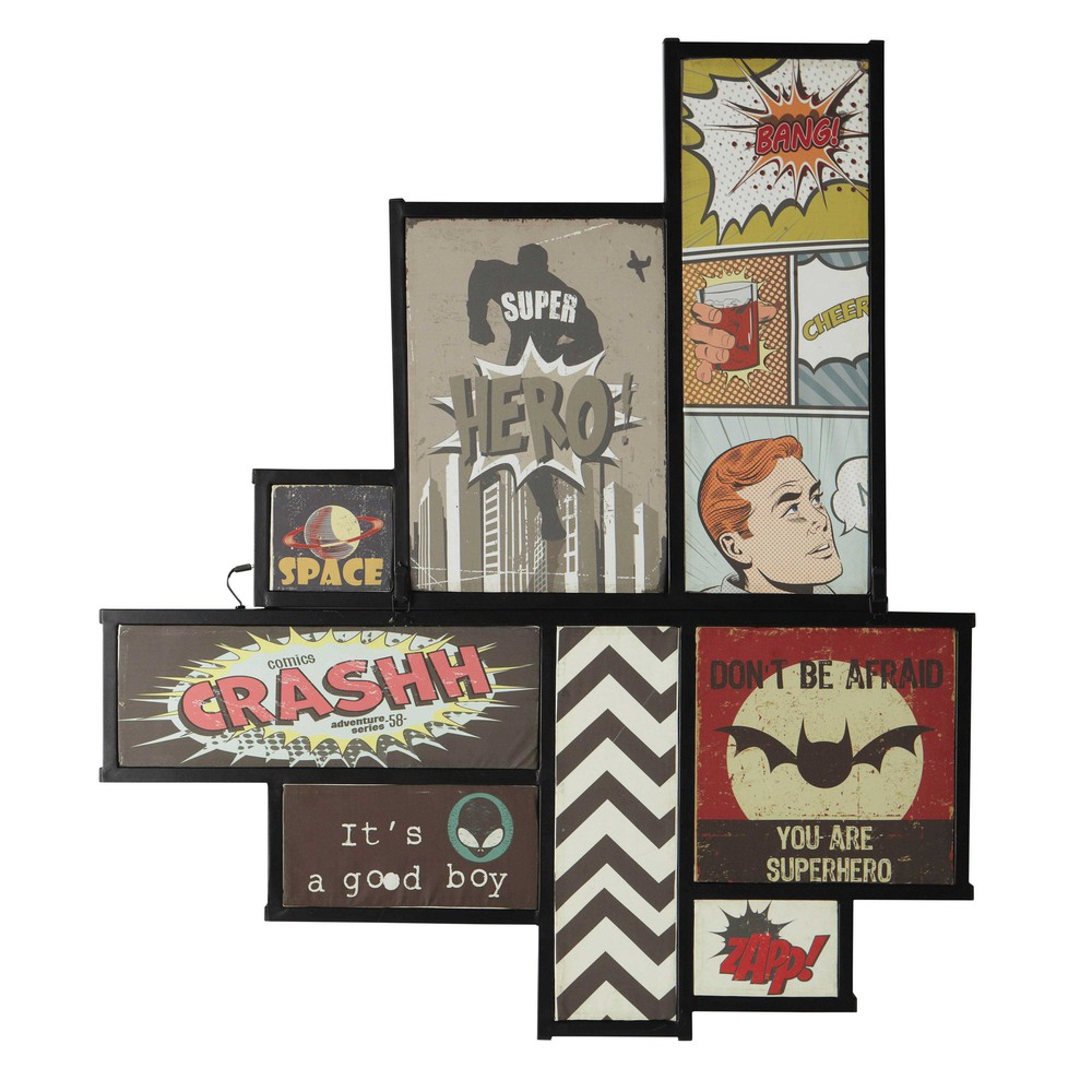 Tableau lumineux en m tal 107 x 123 cm comics maisons du monde - Tableau deco en metal ...