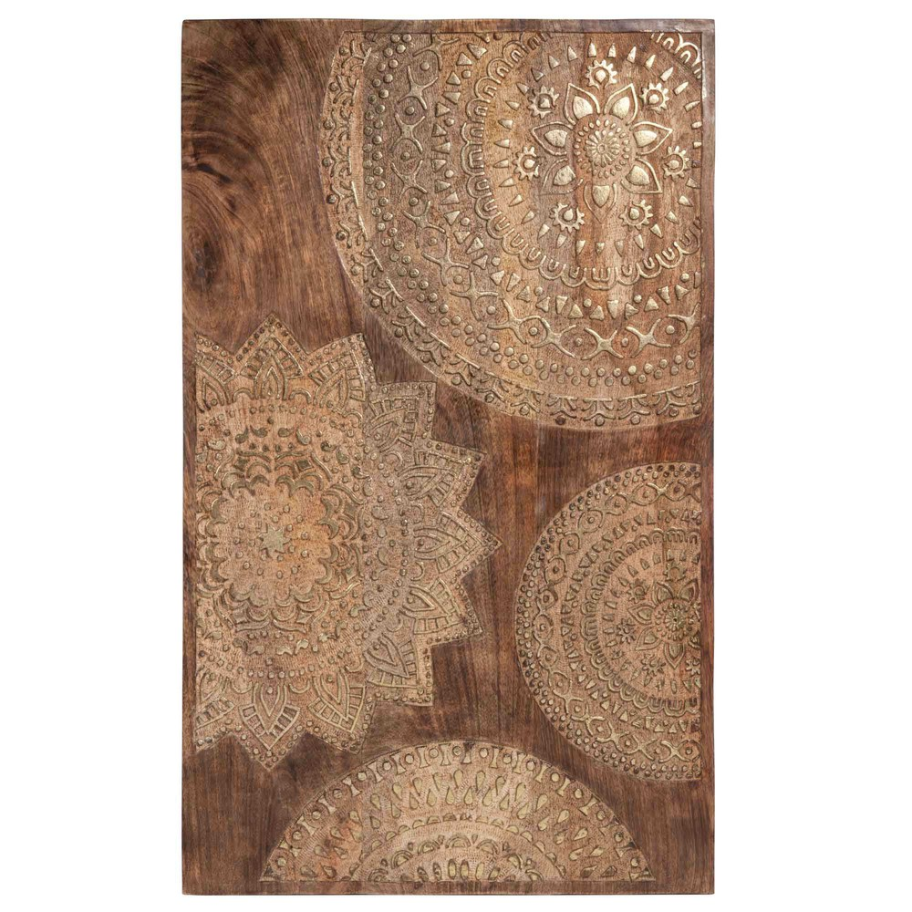 tableau sculpt en bois dor 50 x 82 cm mandala maisons du monde. Black Bedroom Furniture Sets. Home Design Ideas