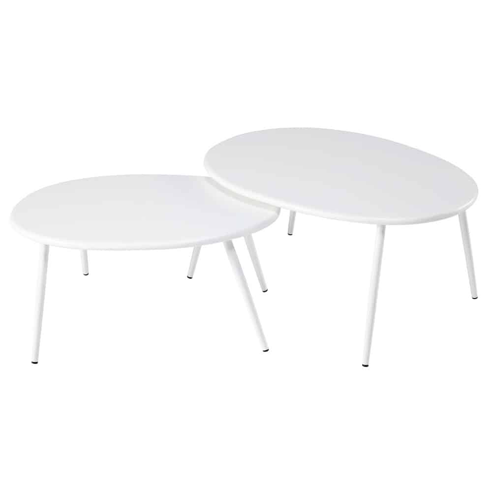 tables gigognes de jardin en m tal blanc lumpa maisons. Black Bedroom Furniture Sets. Home Design Ideas