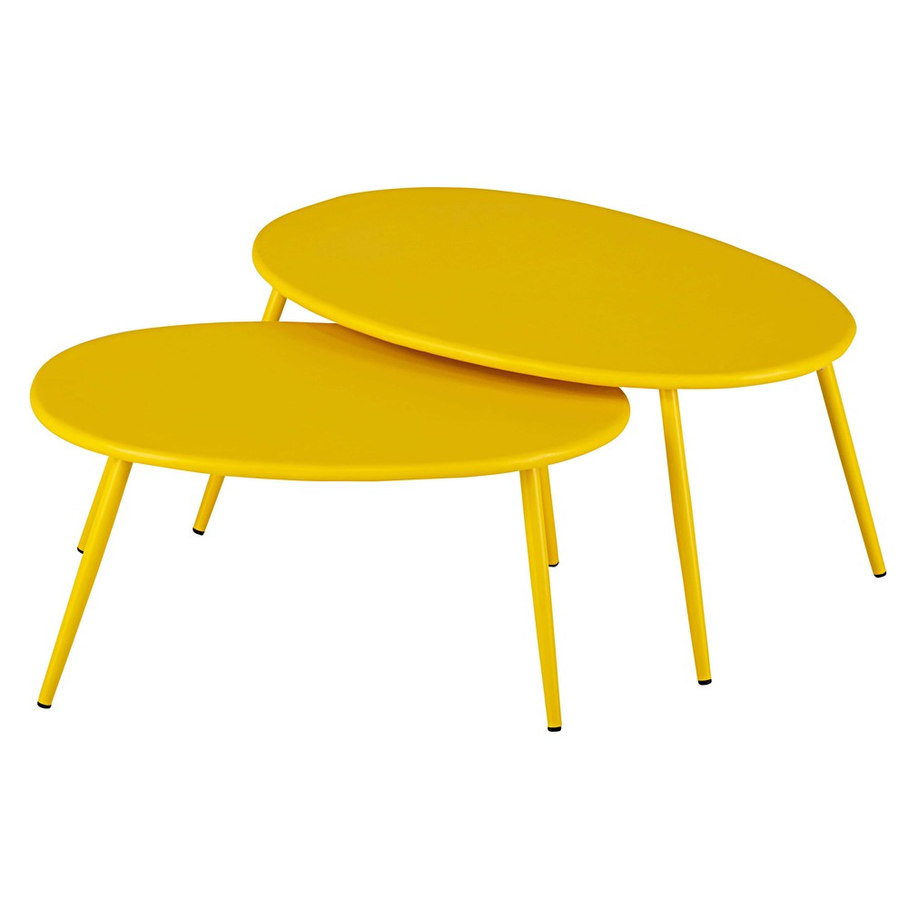 Tables gigognes de jardin en m tal jaune lumpa maisons for Table exterieur jaune
