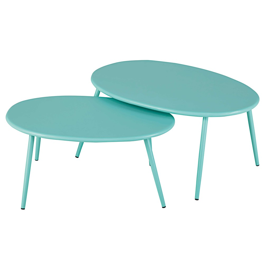 tables gigognes de jardin en m tal turquoise lumpa maisons du monde. Black Bedroom Furniture Sets. Home Design Ideas