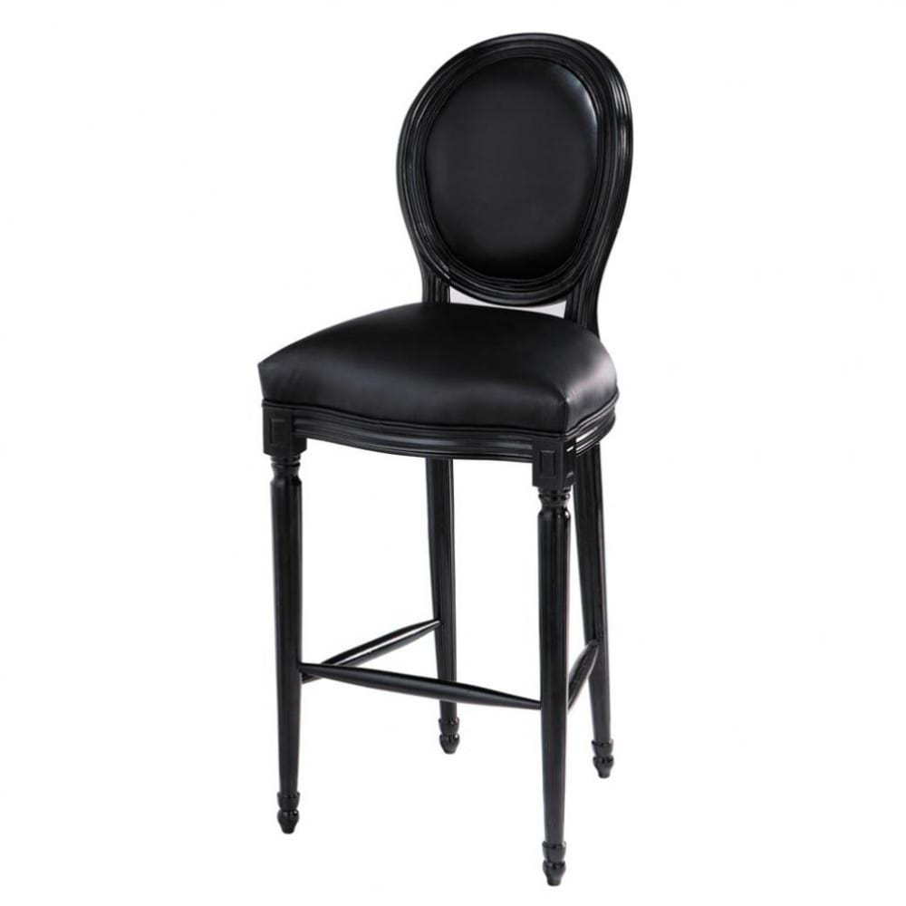tabouret chaise de bar noir louis maisons du monde. Black Bedroom Furniture Sets. Home Design Ideas