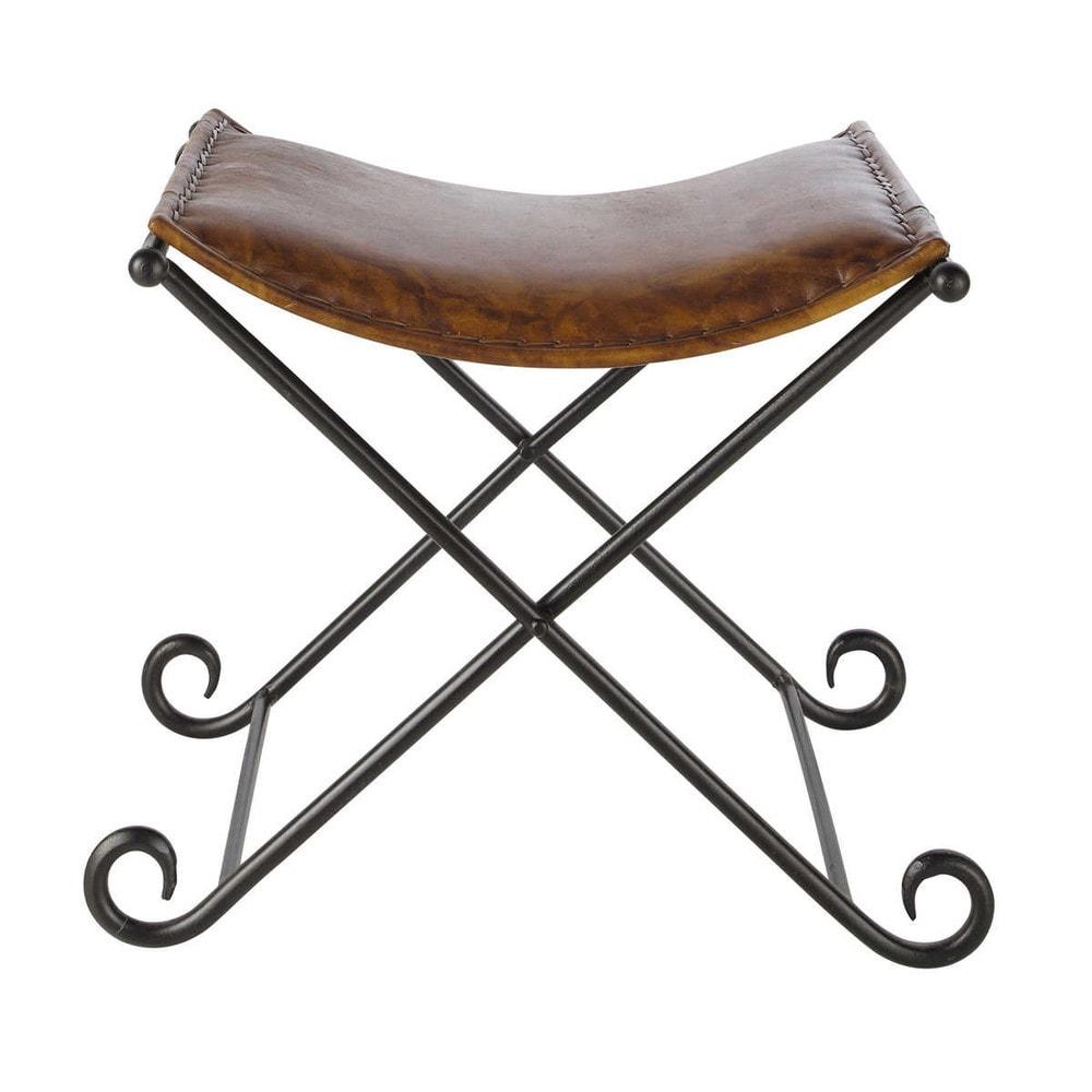 tabouret cuir atlas maisons du monde. Black Bedroom Furniture Sets. Home Design Ideas