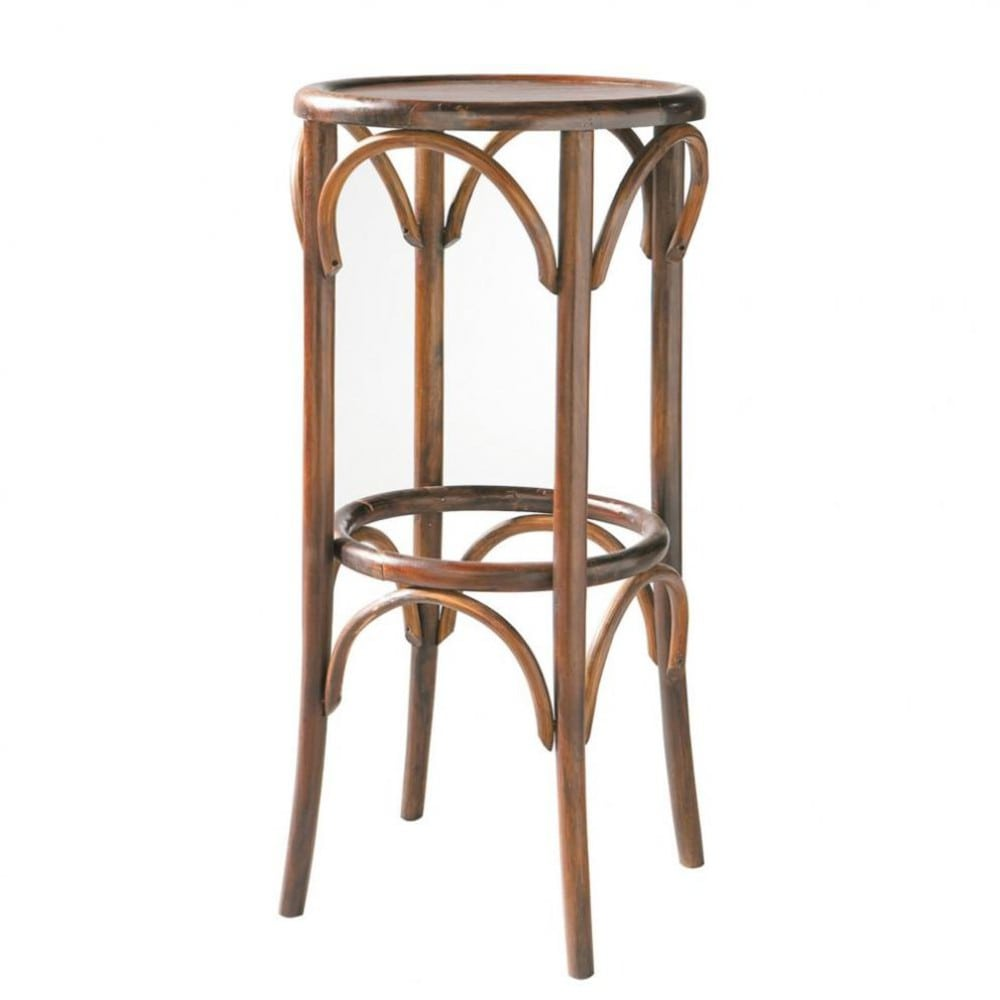 tabouret de bar en bois de sheesham massif bistrot maisons du monde. Black Bedroom Furniture Sets. Home Design Ideas