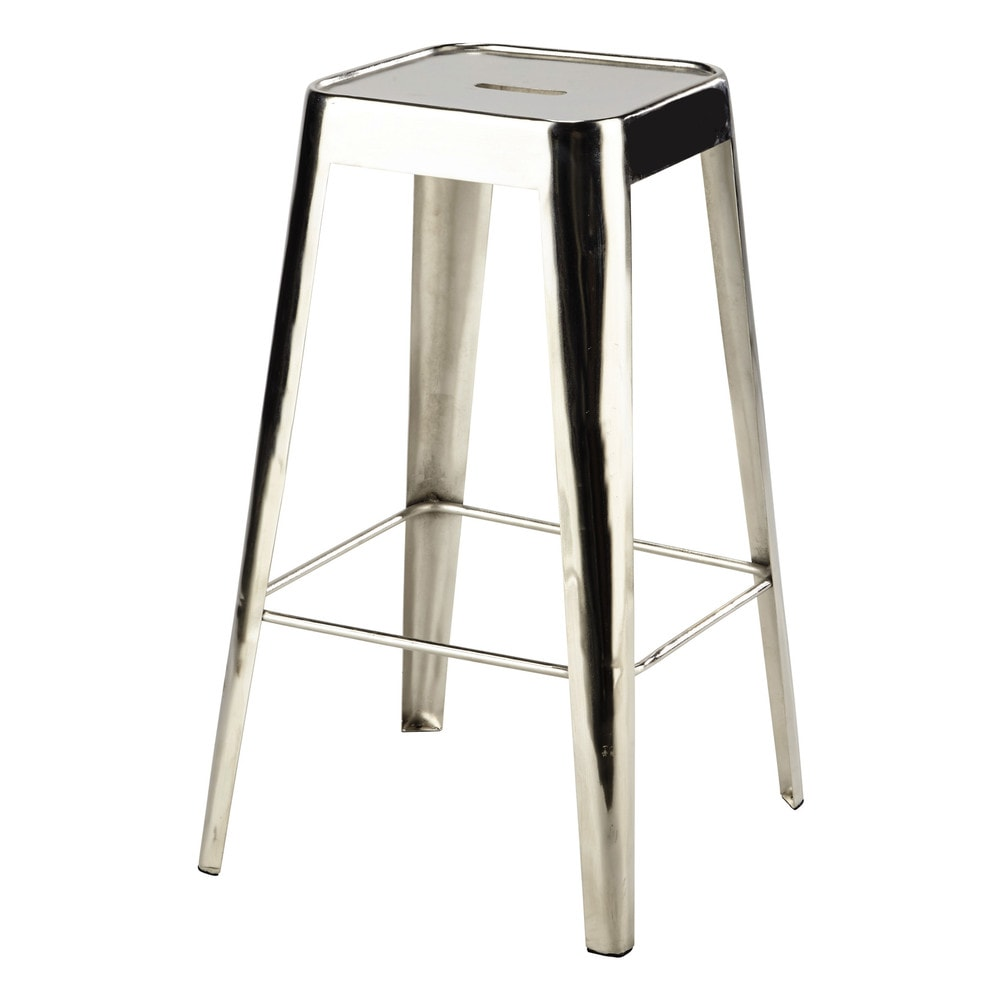 tabouret de bar en m tal chrome tom maisons du monde. Black Bedroom Furniture Sets. Home Design Ideas