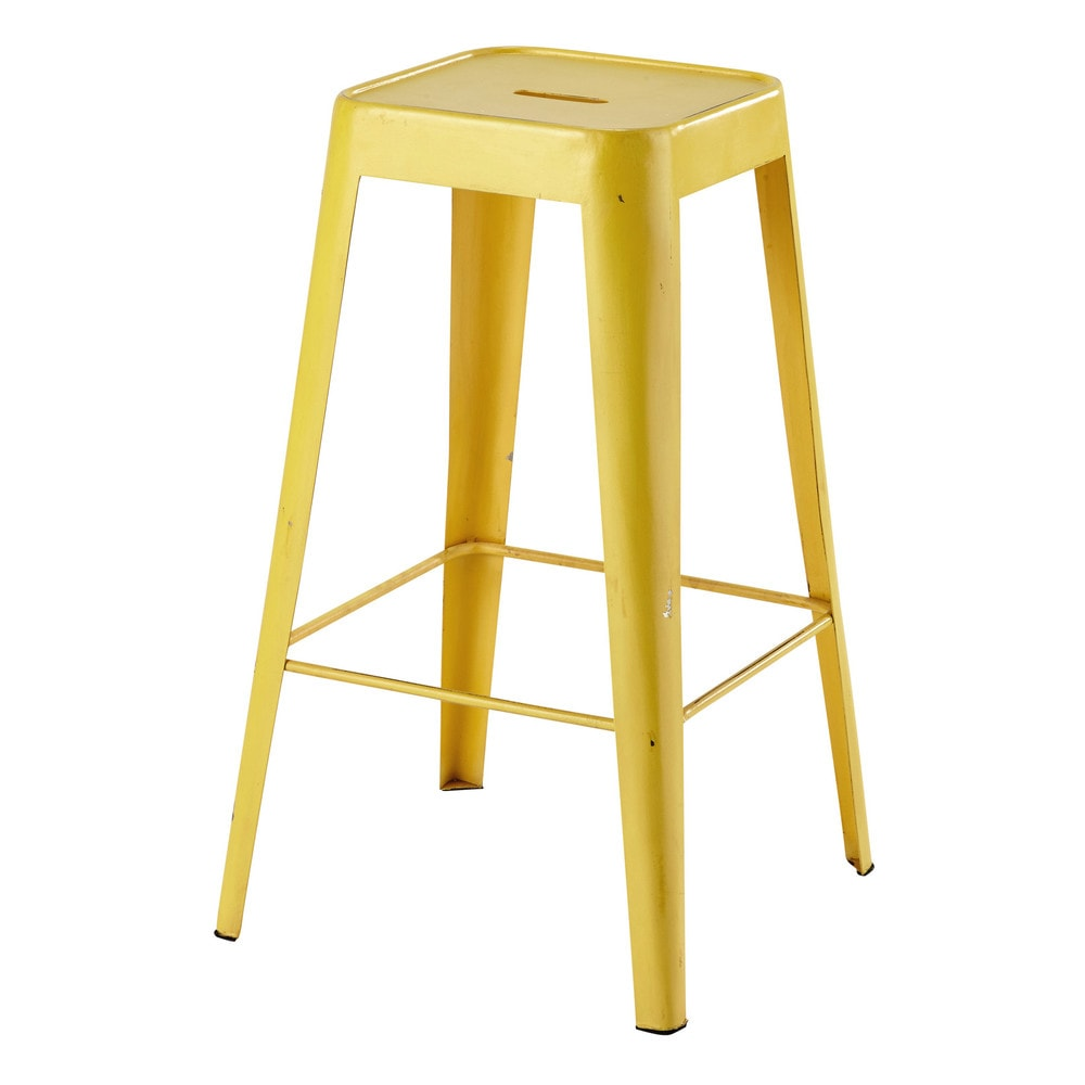 tabouret de bar en m tal jaune tom maisons du monde. Black Bedroom Furniture Sets. Home Design Ideas