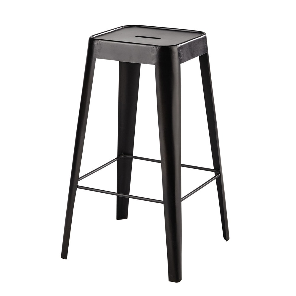 tabouret de bar en m tal noir tom maisons du monde. Black Bedroom Furniture Sets. Home Design Ideas