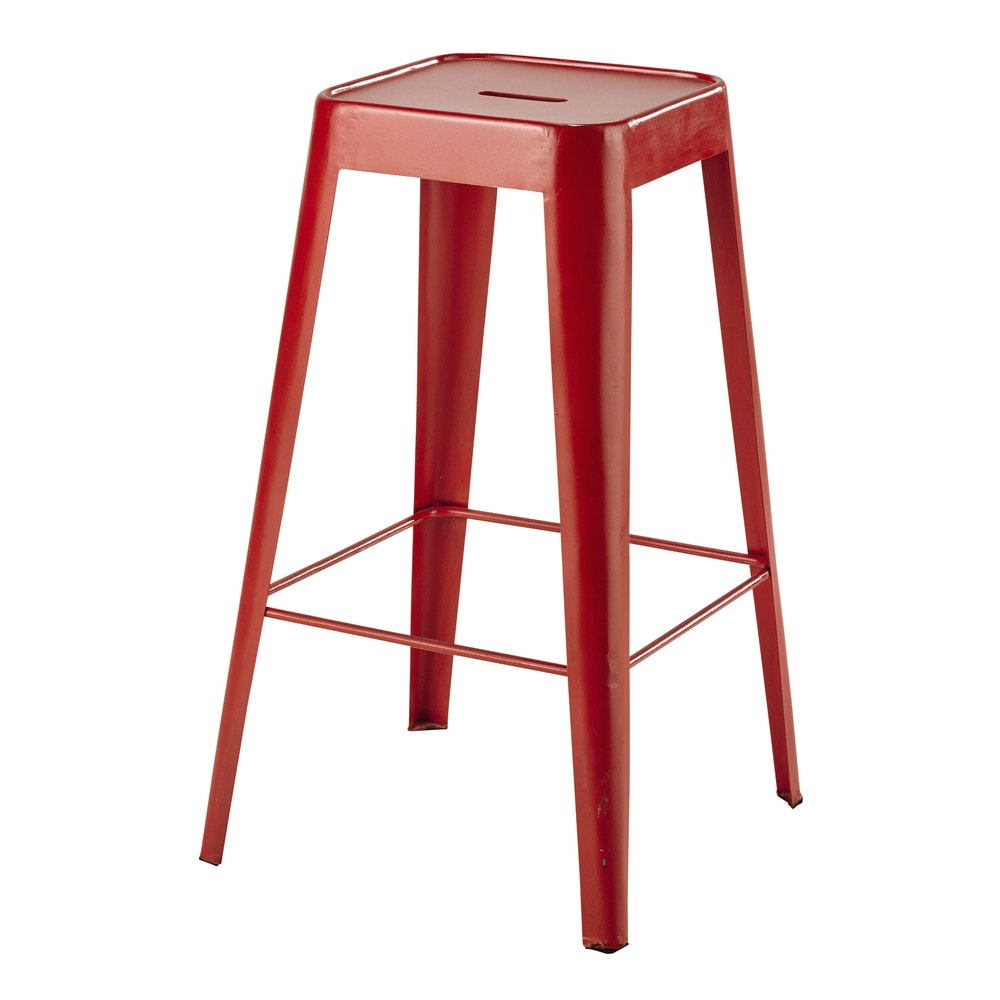 Tabouret de bar en m tal rouge tom maisons du monde - Tabouret rouge de bar ...