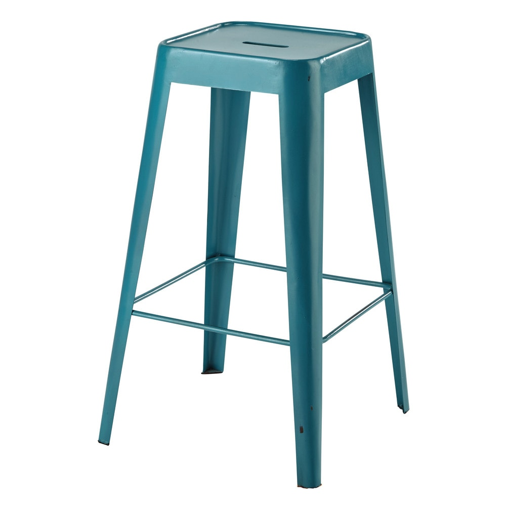 tabouret de bar en m tal turquoise tom maisons du monde. Black Bedroom Furniture Sets. Home Design Ideas
