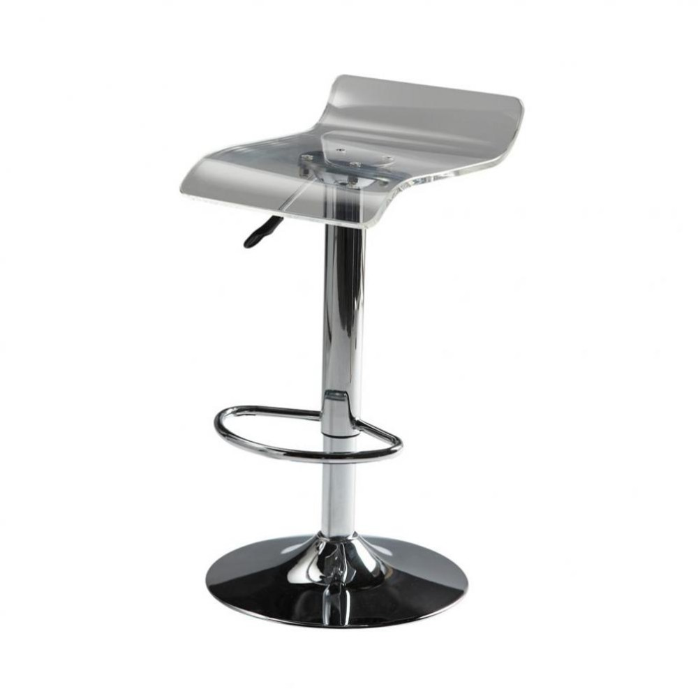 tabouret de bar en plastique acrylique et m tal chrom pop. Black Bedroom Furniture Sets. Home Design Ideas