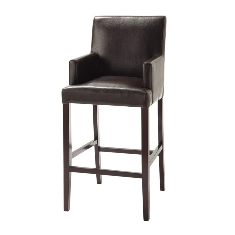 tabouret de bar imitation cuir et bois massif marron lounge maisons du monde. Black Bedroom Furniture Sets. Home Design Ideas