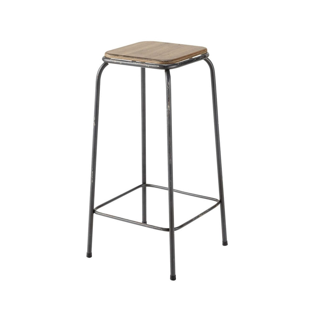 tabouret de bar indus en bois et m tal kraft maisons du. Black Bedroom Furniture Sets. Home Design Ideas