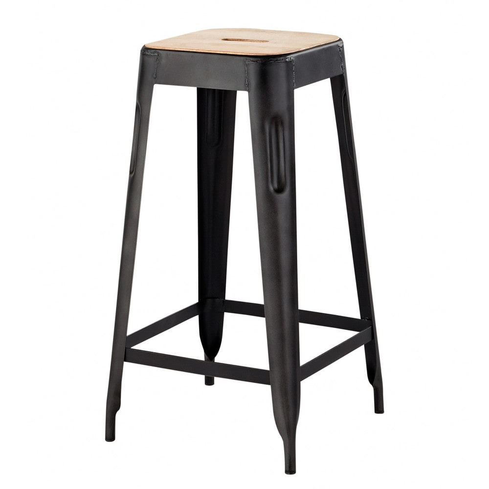 tabouret de bar indus en manguier et m tal manufacture maisons du monde. Black Bedroom Furniture Sets. Home Design Ideas