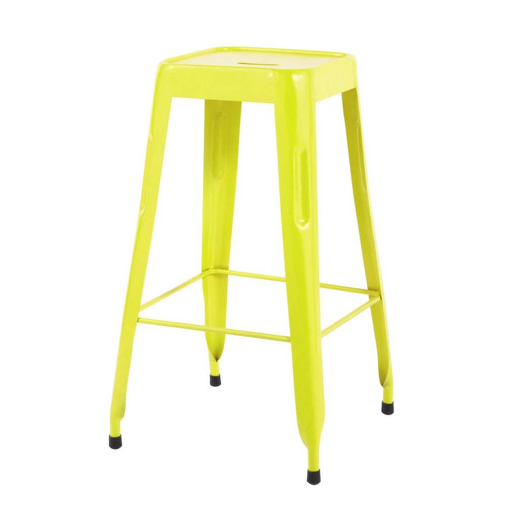 tabouret de bar indus en m tal jaune fluo jim maisons du. Black Bedroom Furniture Sets. Home Design Ideas