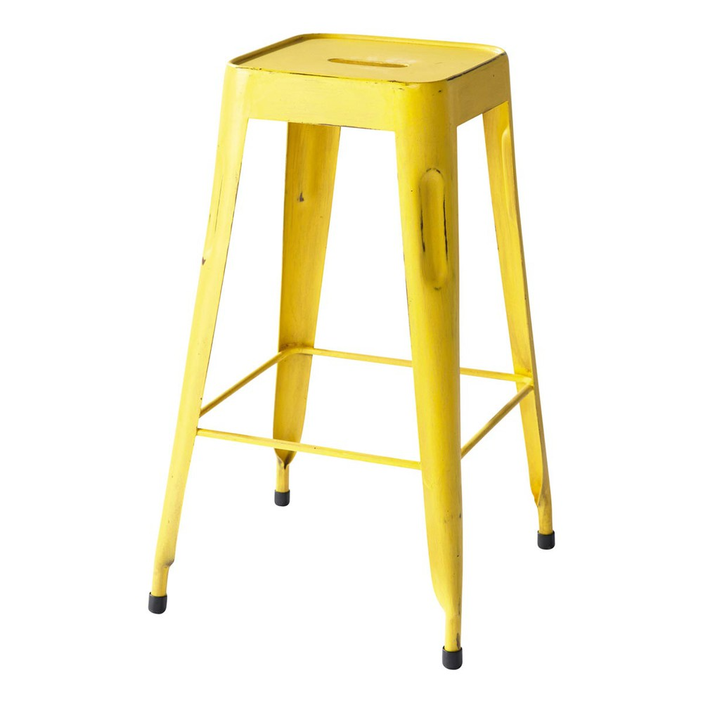 tabouret de bar indus en m tal jaune jim maisons du monde. Black Bedroom Furniture Sets. Home Design Ideas