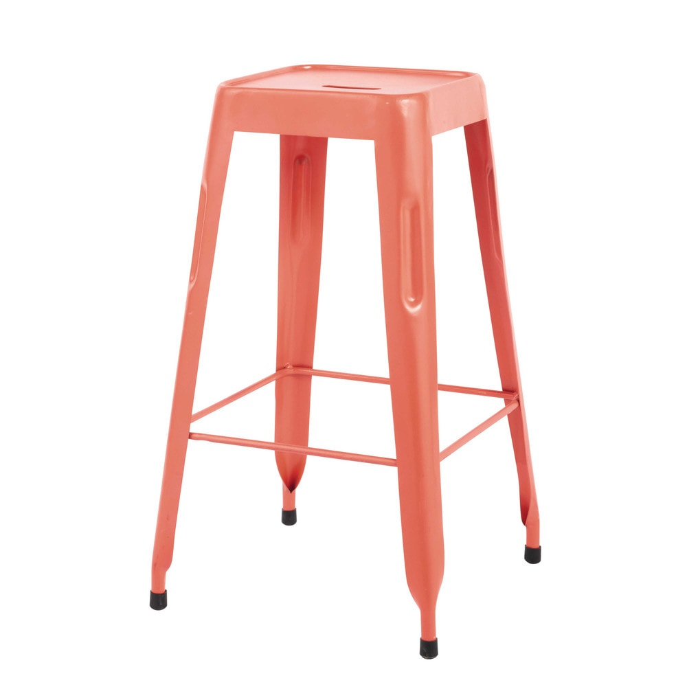 tabouret de bar indus en m tal orange jim maisons du monde. Black Bedroom Furniture Sets. Home Design Ideas