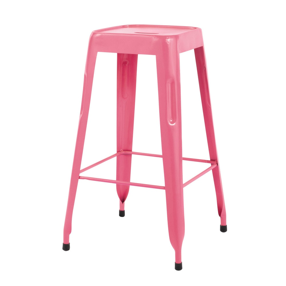 tabouret de bar indus en m tal rose fluo jim maisons du monde. Black Bedroom Furniture Sets. Home Design Ideas