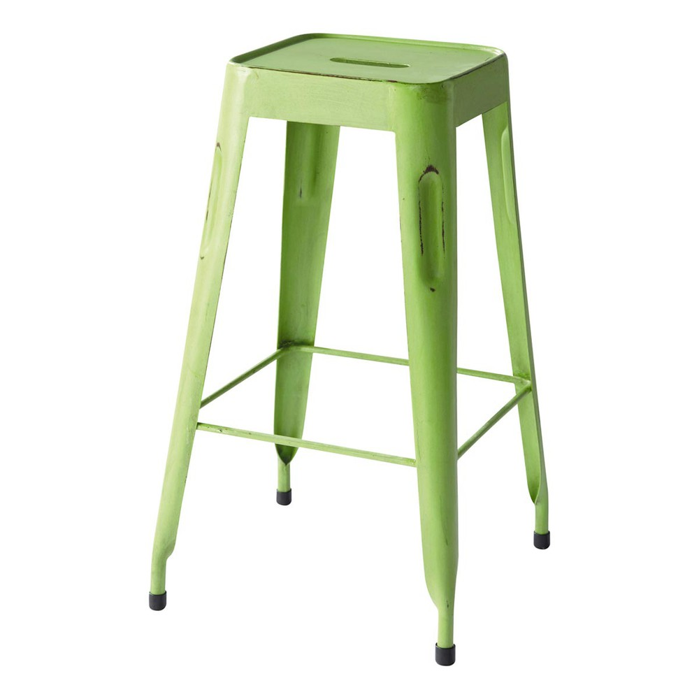 Tabouret de bar indus en m tal vert jim maisons du monde - Tabouret de bar couleur ...