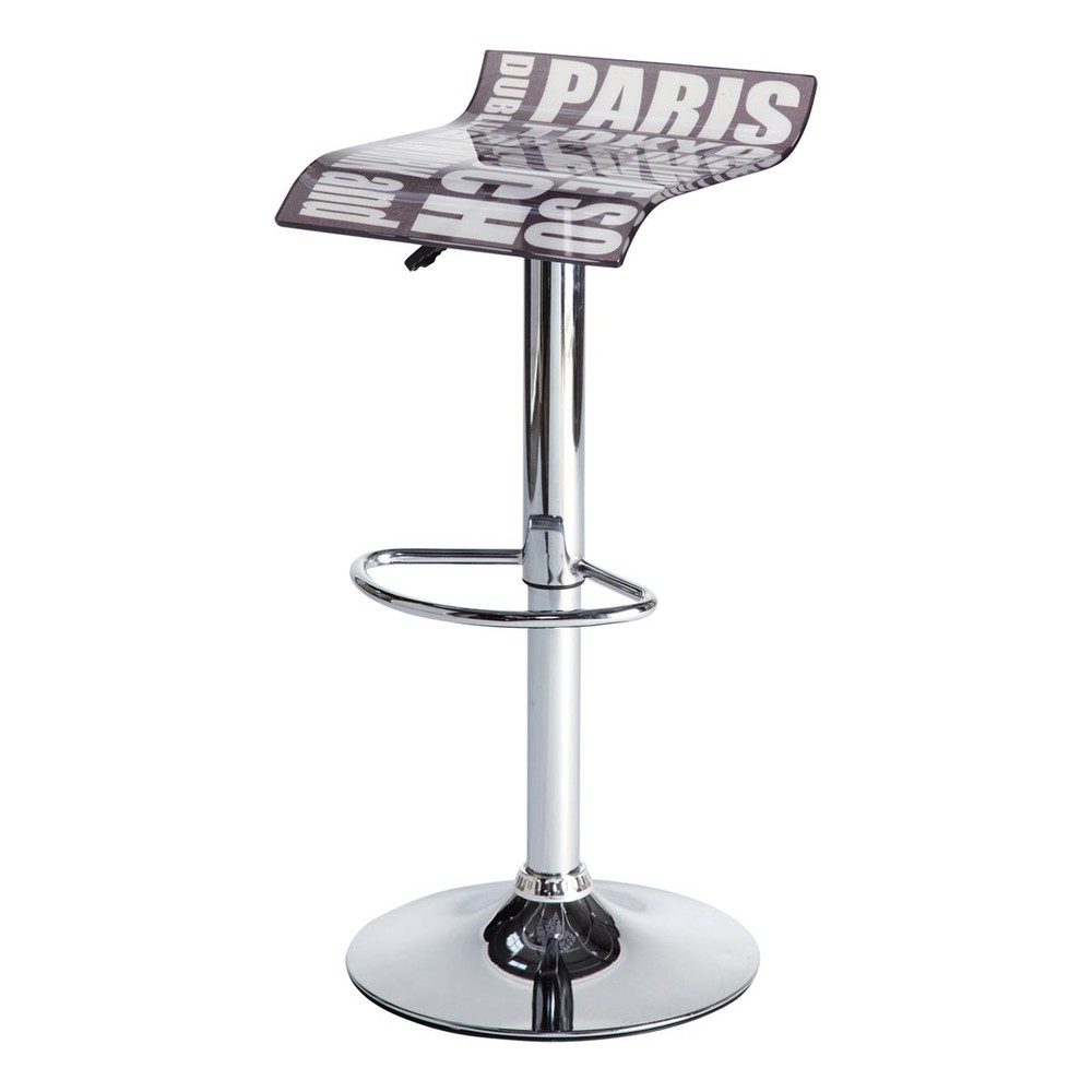 tabouret de bar m tal repose pied cities maisons du monde. Black Bedroom Furniture Sets. Home Design Ideas