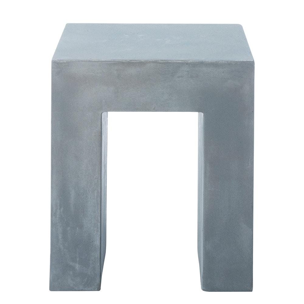 Tabouret effet b ton en magn sie gris clair mineral maisons du monde - Maison du monde table beton ...
