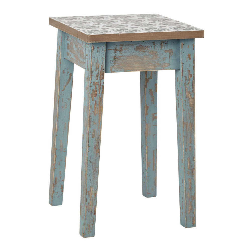 tabouret en bois patin bleu armelle maisons du monde. Black Bedroom Furniture Sets. Home Design Ideas