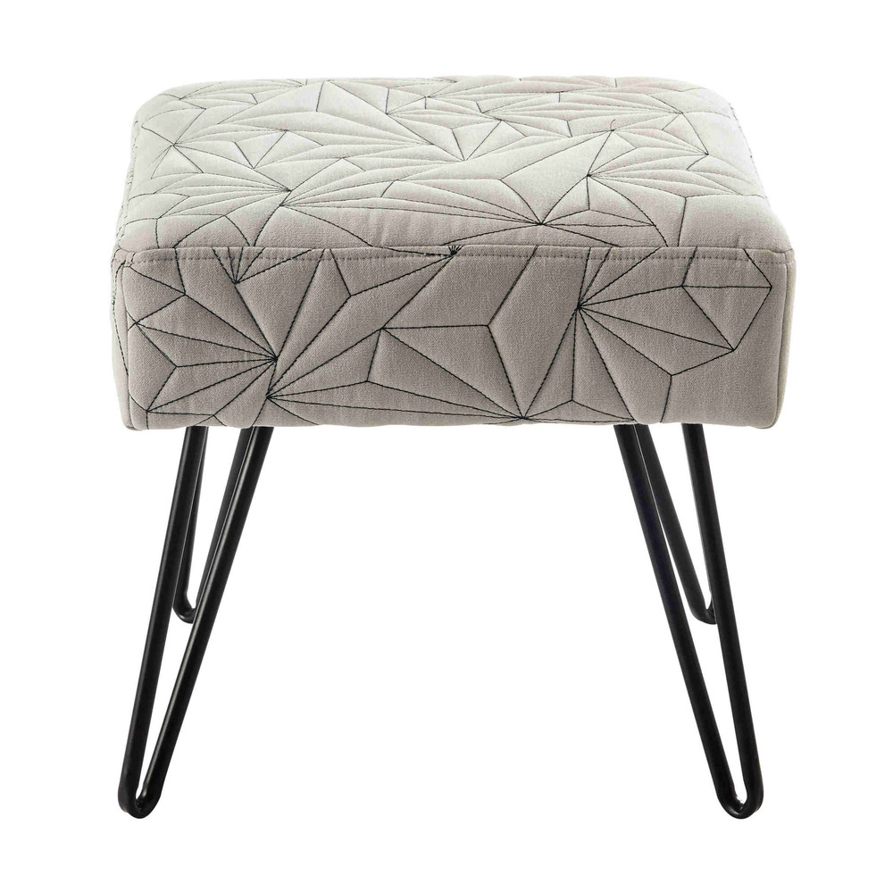 tabouret en coton gris et m tal darryl maisons du monde. Black Bedroom Furniture Sets. Home Design Ideas