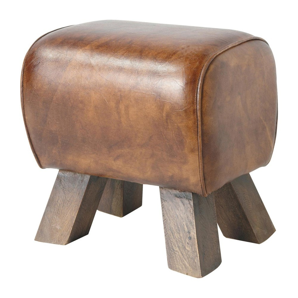 tabouret en cuir et bois marron livingston maisons du monde. Black Bedroom Furniture Sets. Home Design Ideas