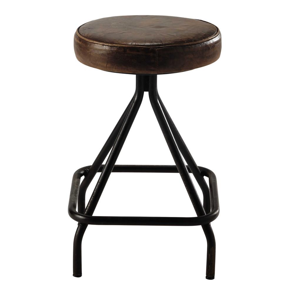 tabouret en cuir marron et m tal allen maisons du monde. Black Bedroom Furniture Sets. Home Design Ideas
