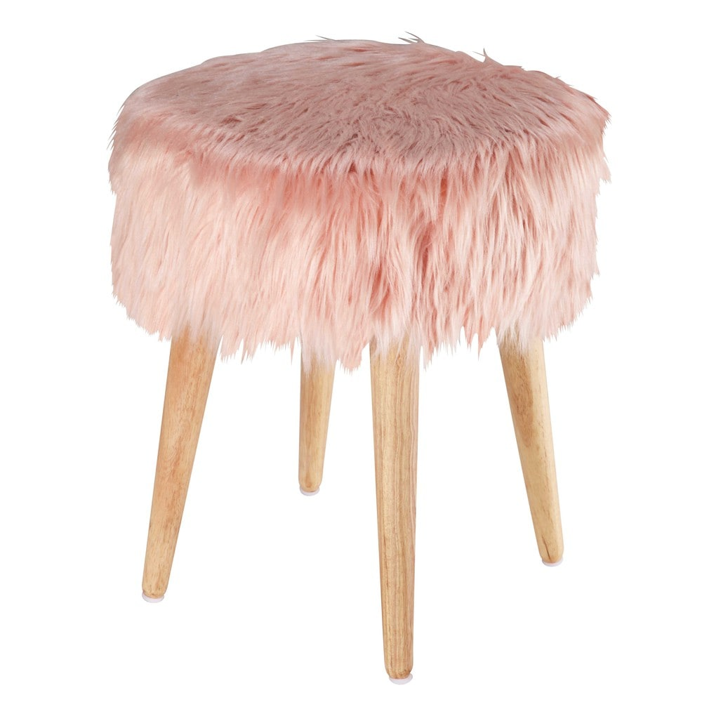 tabouret en fausse fourrure rose pin 39 up maisons du monde. Black Bedroom Furniture Sets. Home Design Ideas