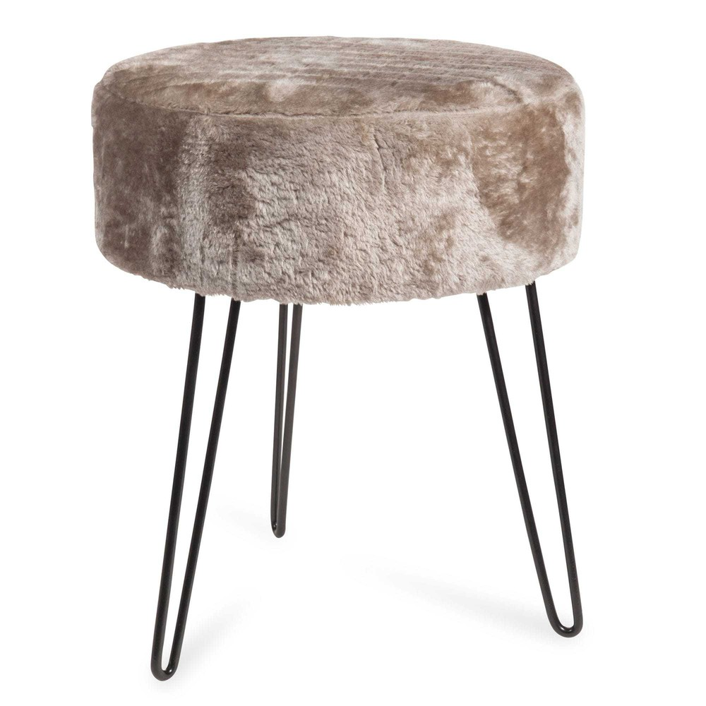tabouret en fausse fourrure vintage fur maisons du monde. Black Bedroom Furniture Sets. Home Design Ideas