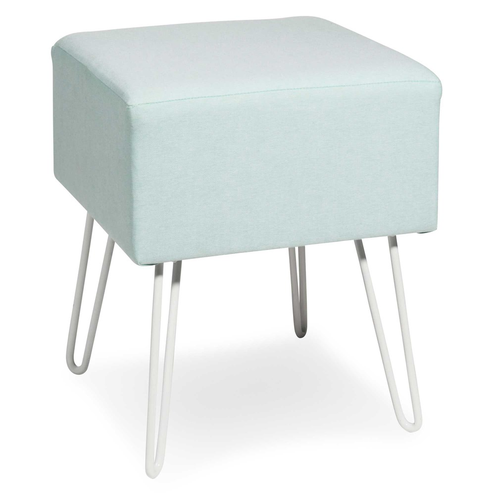 tabouret en m tal blanc et tissu vert menthe gimo maisons du monde. Black Bedroom Furniture Sets. Home Design Ideas
