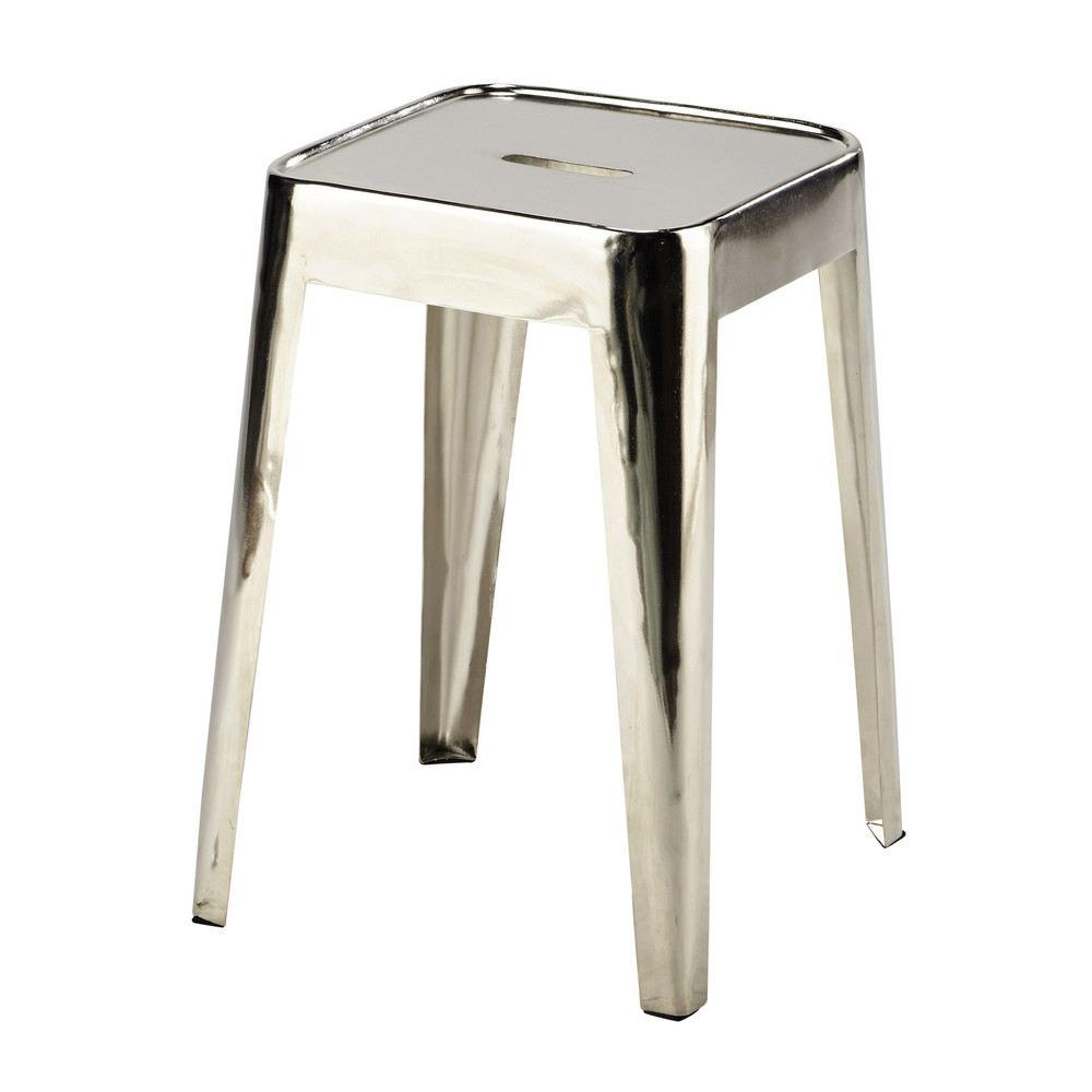 tabouret en m tal chrome tom maisons du monde. Black Bedroom Furniture Sets. Home Design Ideas