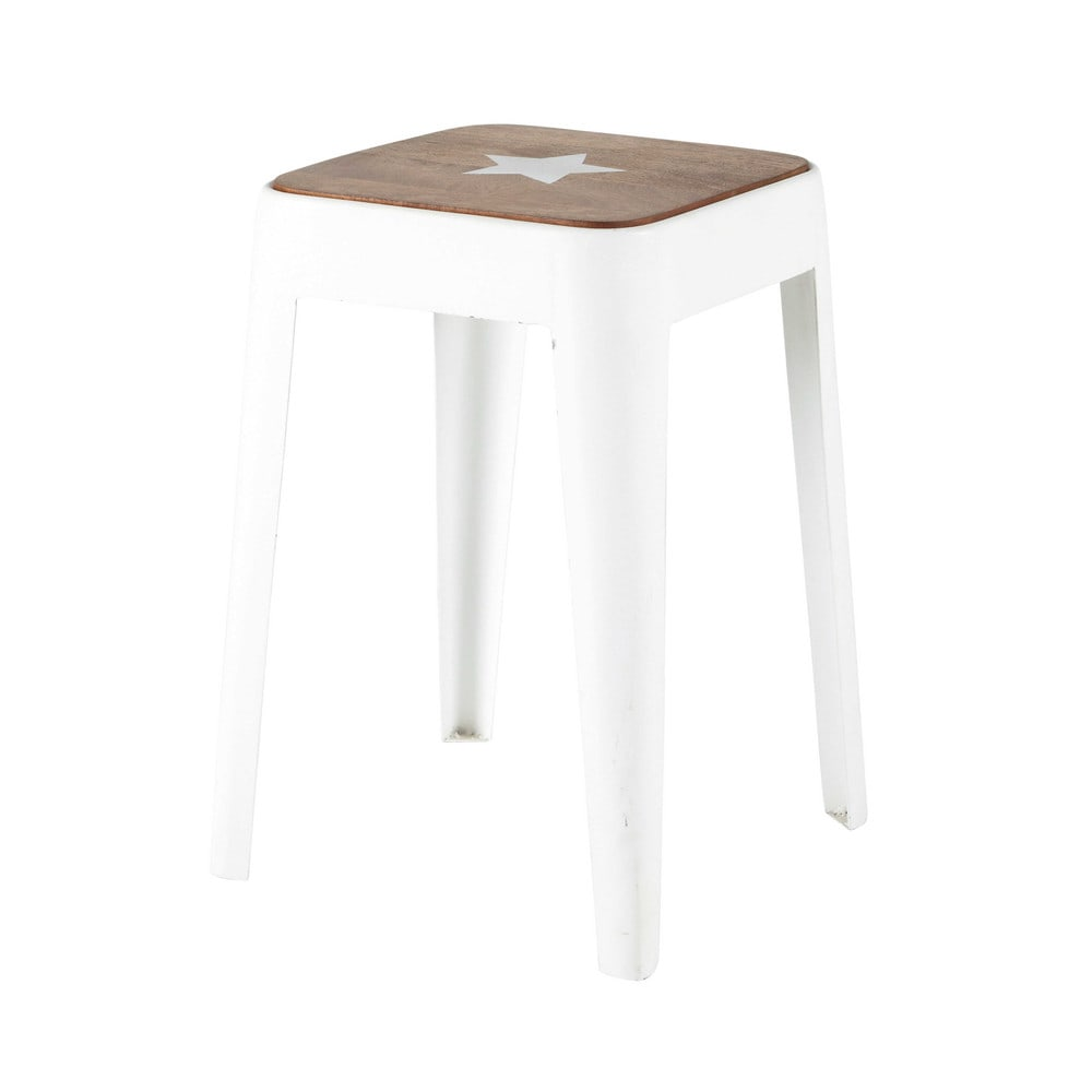 tabouret en m tal et manguier blanc bloom maisons du monde. Black Bedroom Furniture Sets. Home Design Ideas