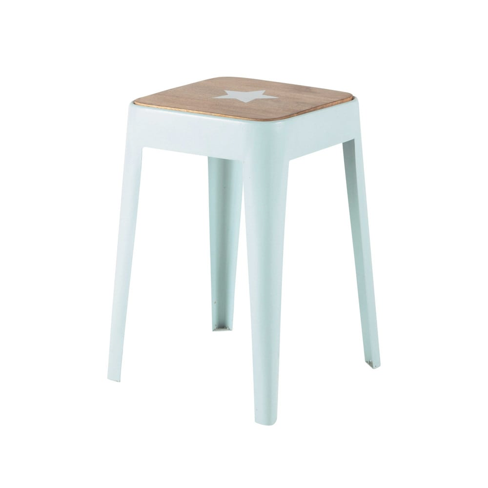 tabouret en m tal et manguier bleu bloom maisons du monde. Black Bedroom Furniture Sets. Home Design Ideas