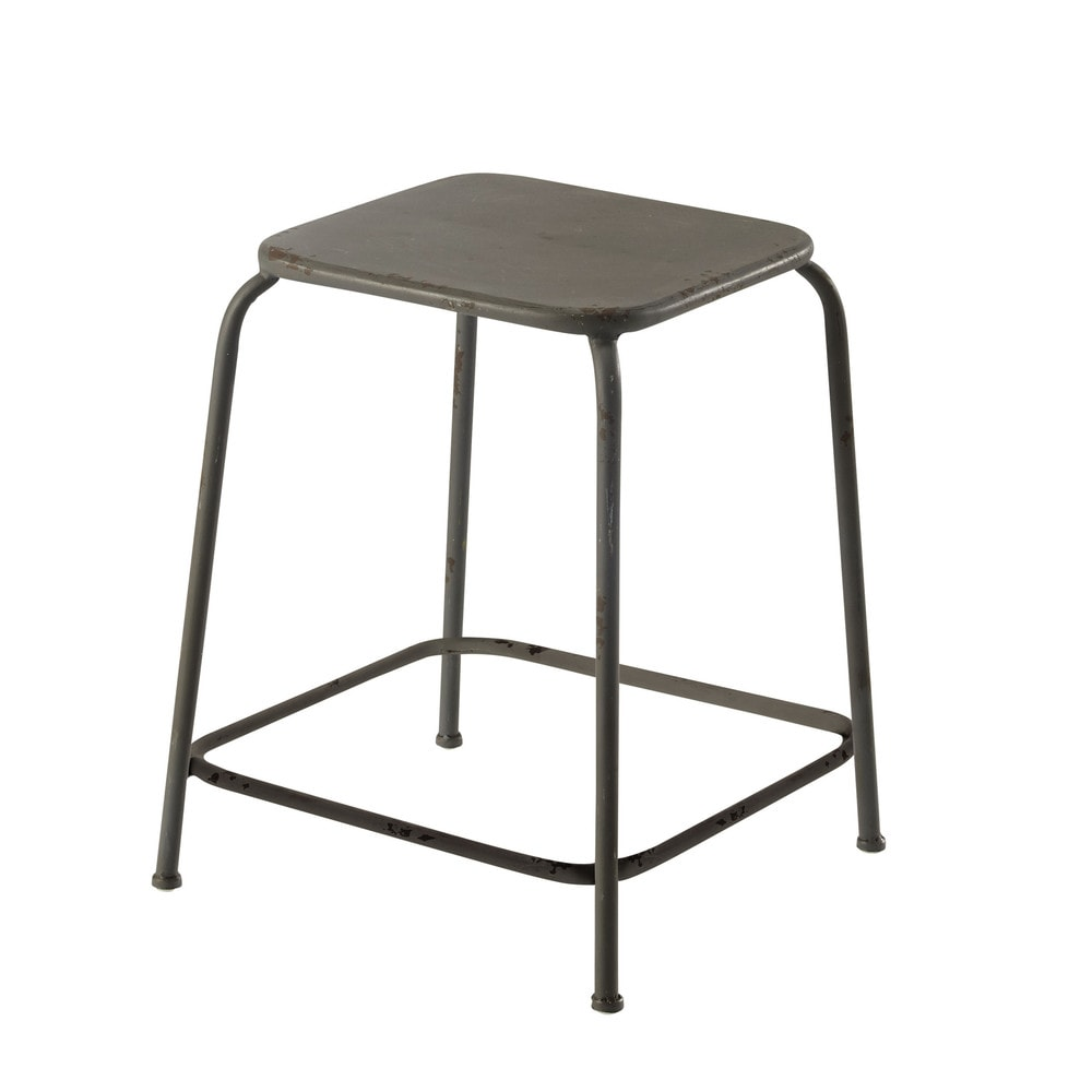 tabouret en m tal gris ronan maisons du monde. Black Bedroom Furniture Sets. Home Design Ideas