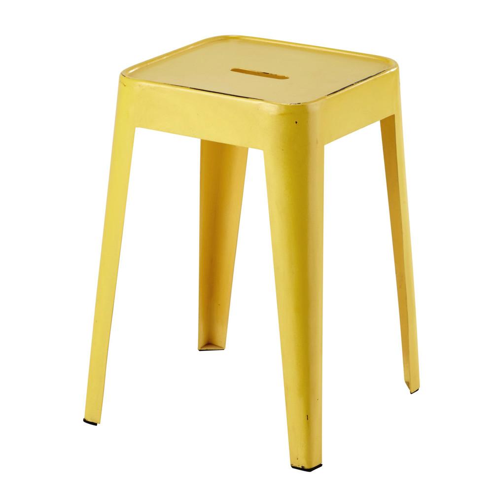 Tabouret en m tal jaune tom maisons du monde - Tabouret bar maison du monde ...