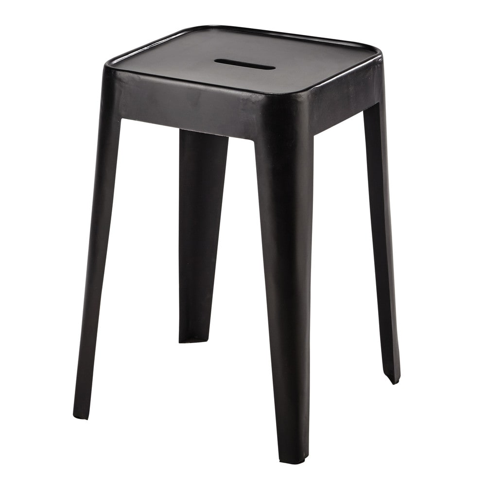 tabouret en m tal noir tom maisons du monde. Black Bedroom Furniture Sets. Home Design Ideas